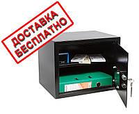 Сейф мебельный черный СМК-3010 для дома офиса ВхШхГ 30х38х30см, фото 1