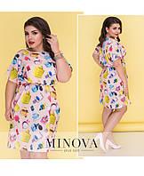 Летнее легкое розовое платье №519 размеры 50 52 54 56 58