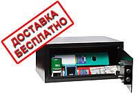Сейф мебельный черный СМК-3510 для дома офиса ВхШхГ 20х43х35см