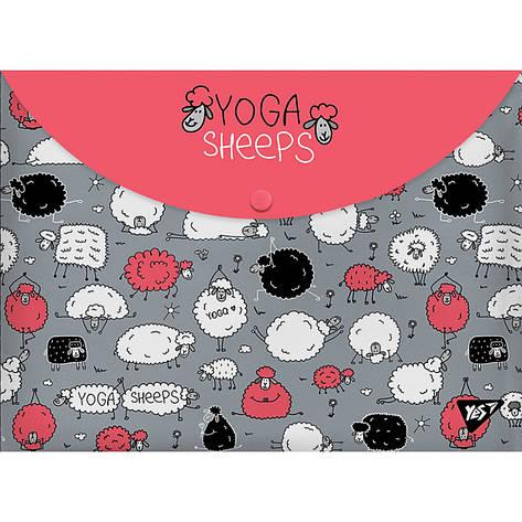 "Папка-конверт на кнопке А4 ""Yoga sheeps"", фото 2"