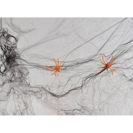 Паутина черная с двумя паучками, 20 г, фото 2