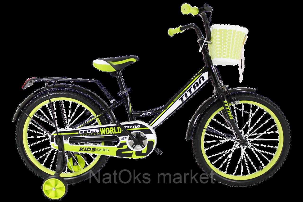"Велосипед Titan Jet 20"" Black-LightGreen"