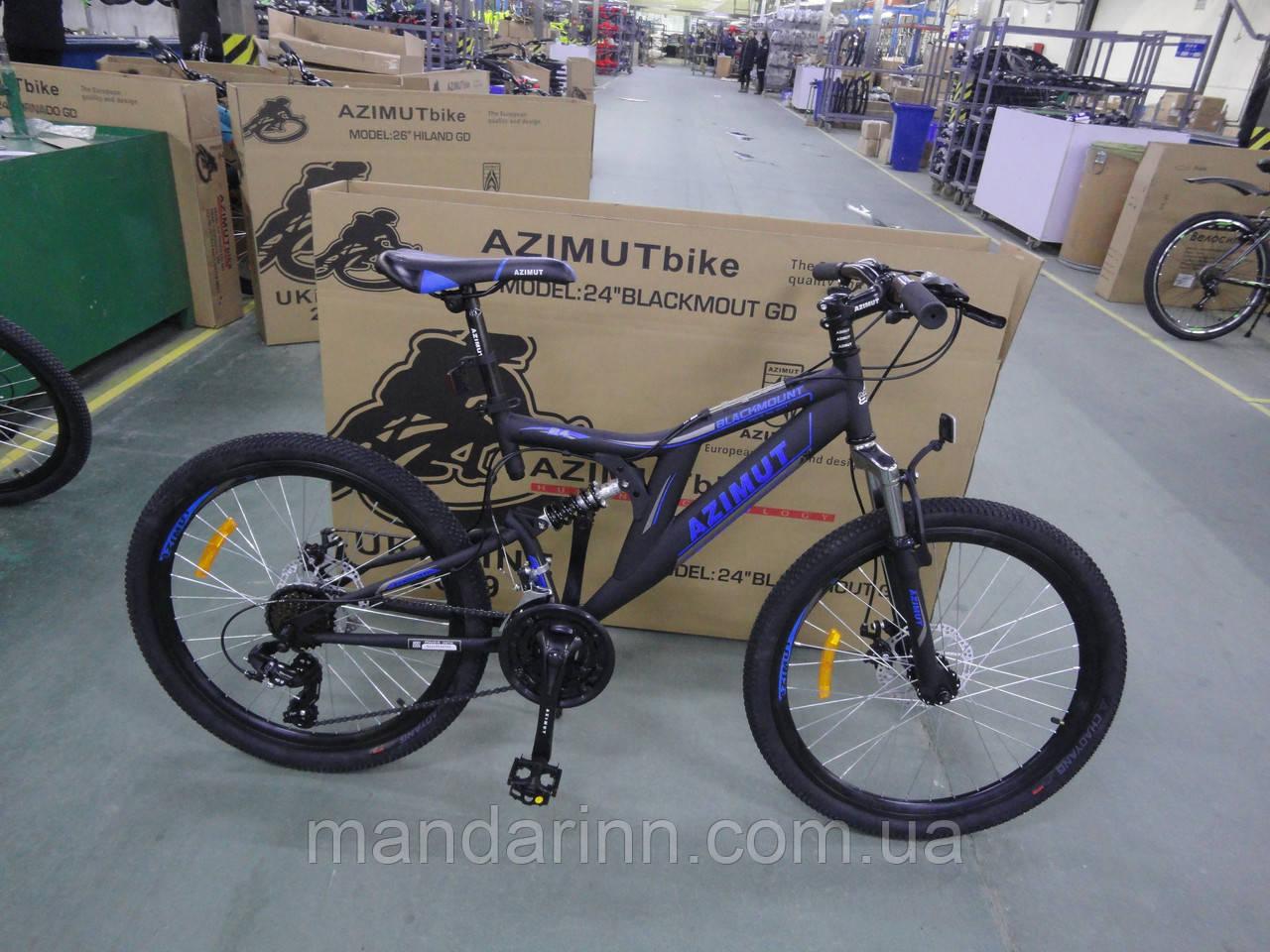 Велосипед Azimut Blackmount 24 дюйма. Дисковые тормоза. Черно-синий