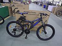 Велосипед Azimut Blackmount 24 дюйма. Дисковые тормоза. Черно-синий, фото 1