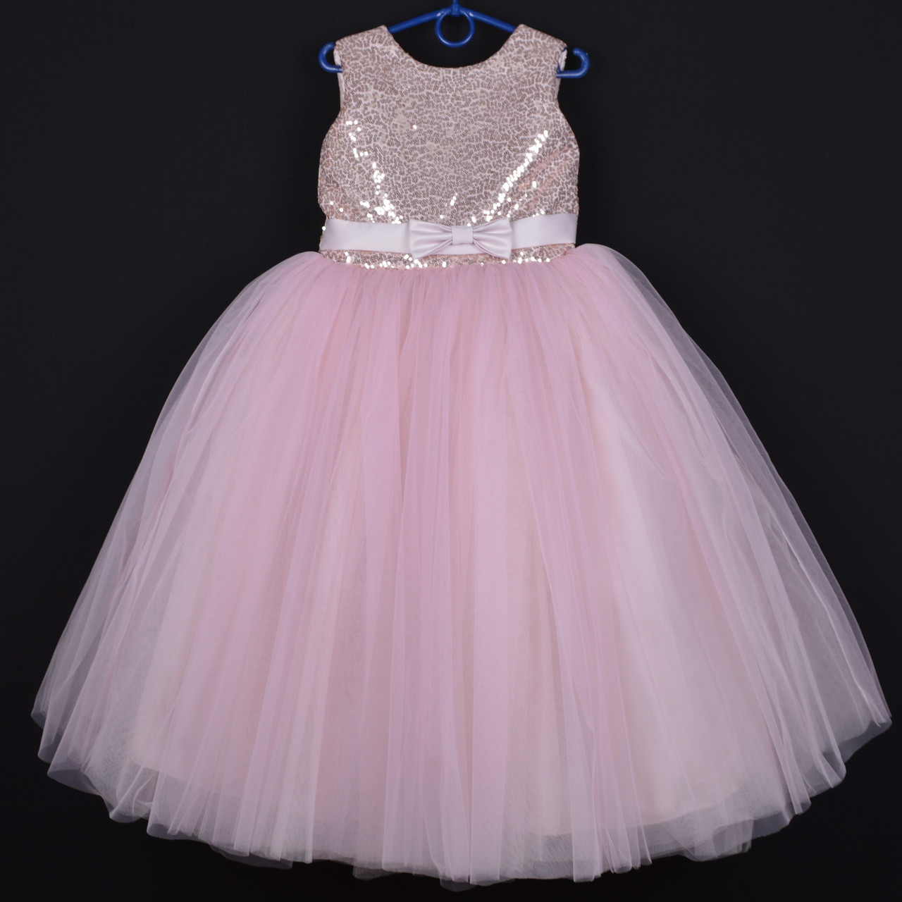 """Платье нарядное детское """"Зарина"""" с открытой спиной и съемным бантом. 6-7 лет. Пудра. Оптом и в розницу"""