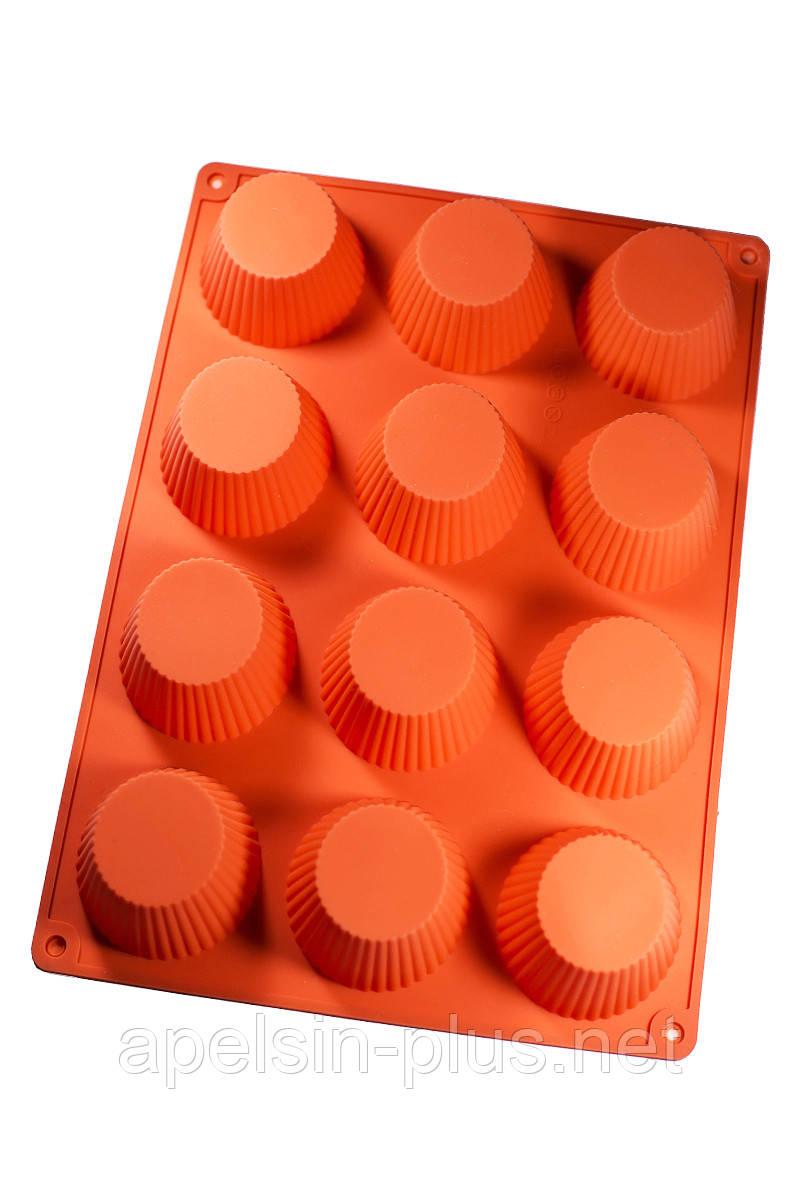 Силиконовая форма для выпечки кексов на 12 ячеек