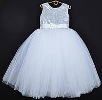 """Платье нарядное детское """"Зарина"""" с открытой спиной и съемным бантом. 6-7 лет. Белое. Оптом и в розницу"""