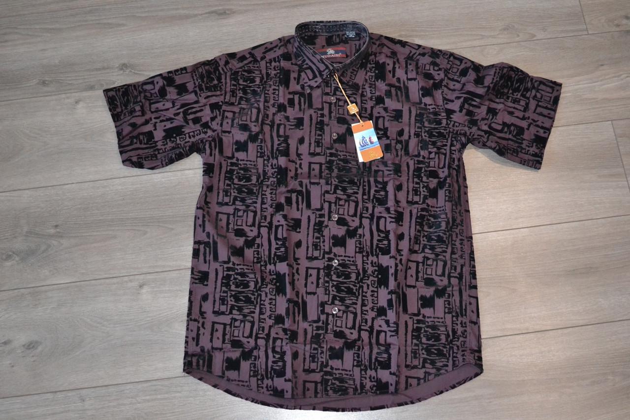 Бордовая классическая рубашка с коротким рукавом NUOAISI (размеры 38,39.40.41.42.43.44.45.46) РАСПРОДАЖА !!!