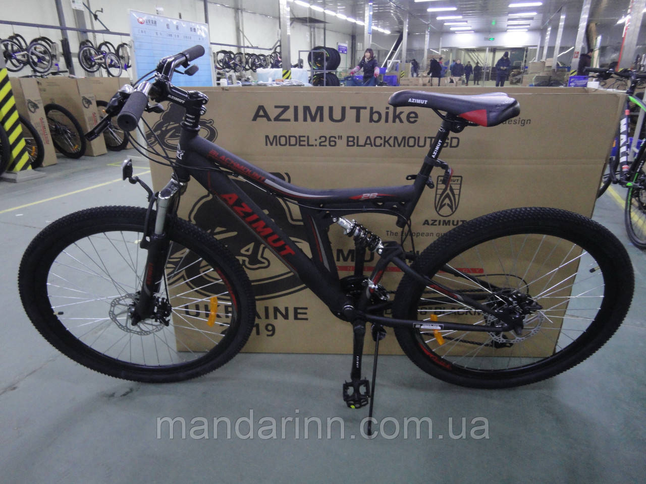 Велосипед Azimut Blackmount 26 дюймов. Дисковые тормоза. Черно-красный