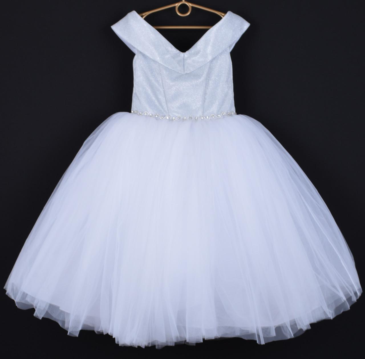 """Платье нарядное детское """"Сияние"""" со спущенными плечами. 6-7 лет. Белое. Оптом и в розницу"""