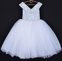 """Платье нарядное детское """"Сияние"""" со спущенными плечами. 6-7 лет. Белое. Оптом и в розницу, фото 1"""
