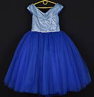"""Платье нарядное детское """"Сияние"""" со спущенными плечами. 6-7 лет. Электрик. Оптом и в розницу, фото 1"""