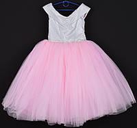 """Платье нарядное детское """"Сияние"""" со спущенными плечами. 6-7 лет. Розовое. Оптом и в розницу, фото 1"""