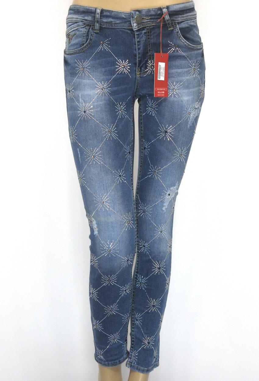Жіночі джинси з стразами маломірки