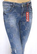 Жіночі джинси з стразами маломірки, фото 3