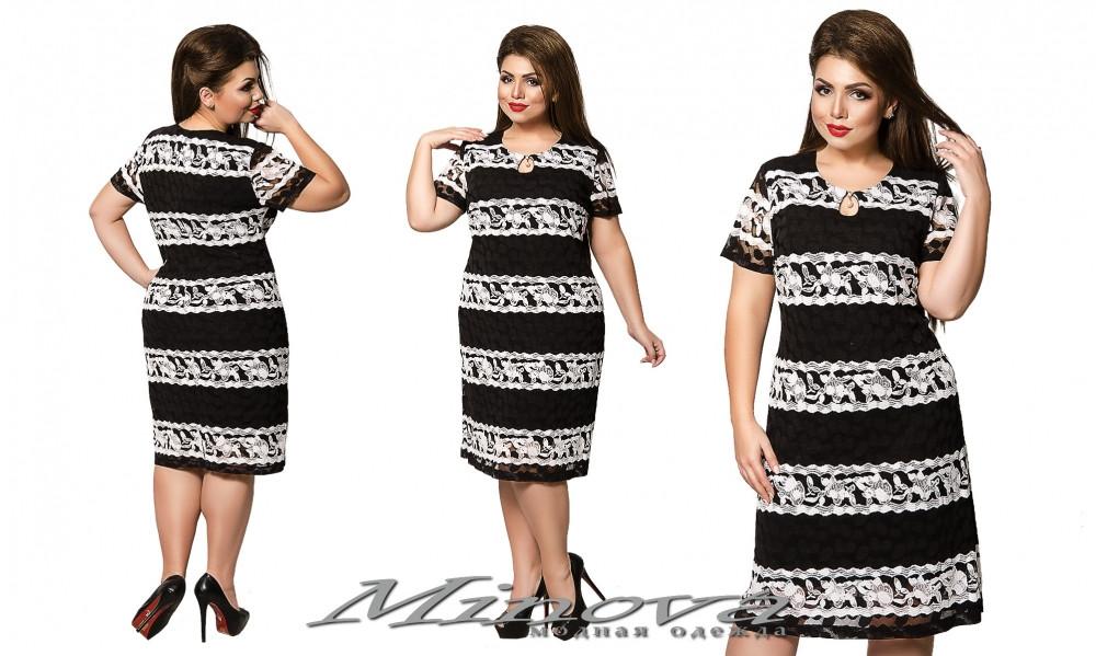Летнее платье большого размера №210-черный размеры 54, 56, 58, 60, 62, 64