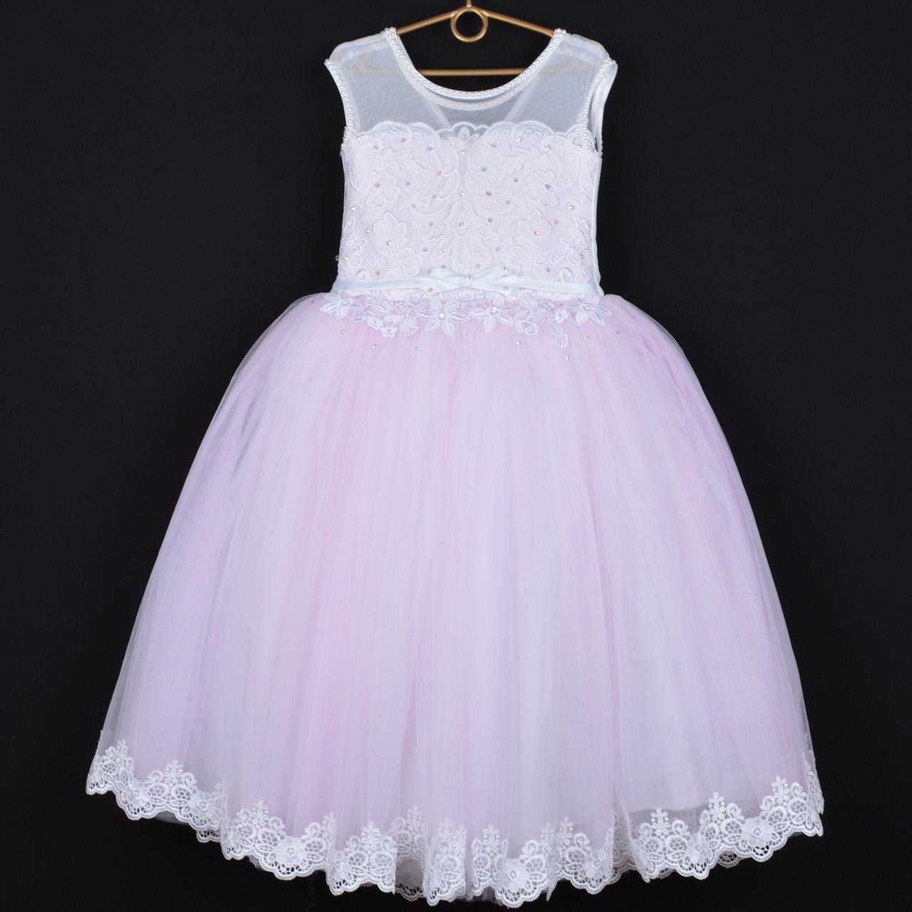 """Платье нарядное детское """"Леди Совершенство"""" с аппликацией. 6-7 лет. Нежно-розовое. Оптом и в розницу"""