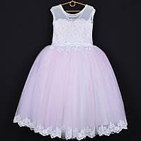 """Платье нарядное детское """"Леди Совершенство"""" с аппликацией. 6-7 лет. Нежно-розовое. Оптом и в розницу, фото 1"""