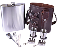 Фляга  фляга для алкоголя  материал - нержавеющая сталь  фляга в чехле  2 стакана и аксессуары  набор фляга
