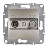 Розетка TV-SAT проходная 8dB Бронза Schneider Asfora plus (EPH3400369)