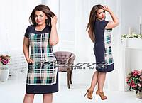 Красивое модное летнее бирюзовое платье №749, размер 50,52