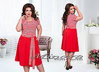Красивое летнее красное платье с поясом №00153, размер 50,52,54