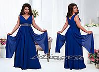 Вечернее длинное платье №15-27  Клеопатра-электрик, размер 48,50,52