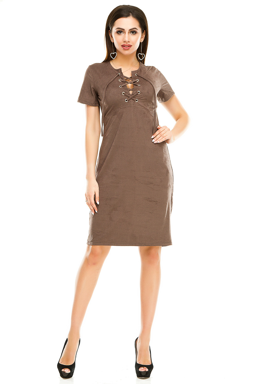 Платье 296  цвета мокко размер 44