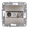 Розетка TV-SAT одинарная 1dB Бронза Schneider Asfora plus (EPH3400469)