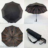 """Черный зонт полуавтомат с двойной тканью и """"Burberry"""" изнутри от фирмы """"Fiaba""""."""