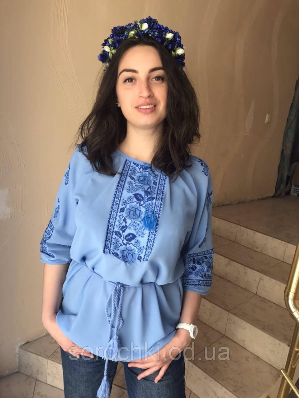 """Блузка женская голубая вышивкой """" Маки с виноградом"""" шифон"""
