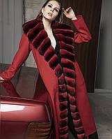 Пальто длинное с мехом шиншиллы , фото 1