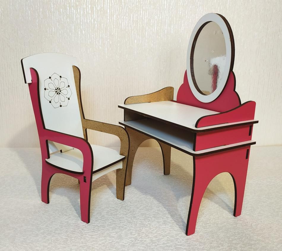 Игровой Набор 1: трюмо + стул для кукол Барби, Братц, Монстер Хай