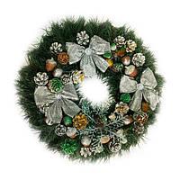 Новогодний венок - Рождественский венок d-36 см - с серебряными бантами
