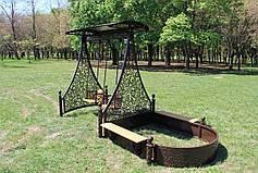 Садовые качели двойные с песочницей (цвет черный/шоколадный), фото 2