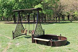 Садовые качели двойные с песочницей (цвет черный/шоколадный), фото 3