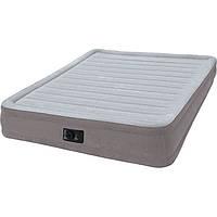 Двухспальная надувная флокированная кровать Intex 67770 со встроенным насосом (203*152*32 см)