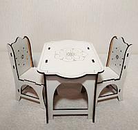 Игровой Набор 1: стол + 2 стула для кукол Барби, Братц, Монстер Хай, фото 1