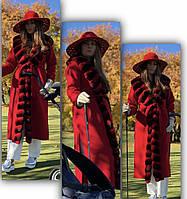 Пальто женское с   шиншиллой красного цвета, фото 1