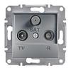 Розетка TV-R-SAT проходная 4dB Сталь Schneider Asfora plus (EPH3500262)