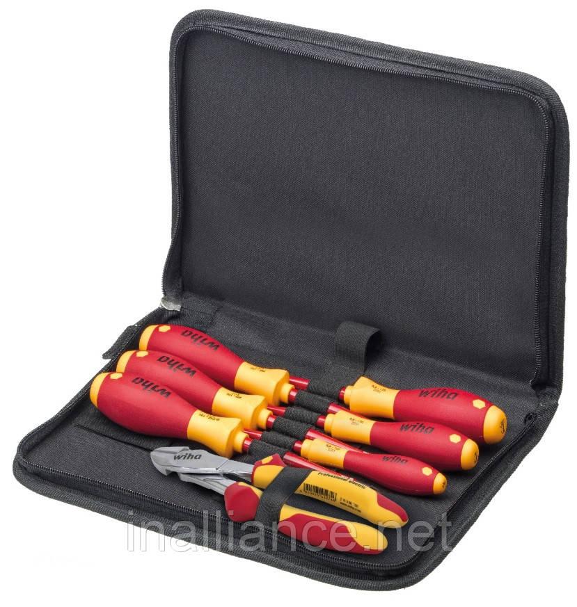 Набор инструмента электрика: отвертки, массивные бокорезы, в сумке, 7 предметов Wiha 38020