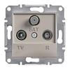 Розетка TV-R-SAT проходная 4dB Бронза Schneider Asfora plus (EPH3500269)