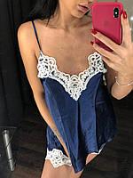 Пижама атласная синяя, фото 1