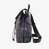 Модний рюкзак жіночий міський. Яскравий рюкзак хамелеон Bao Bao Issey Miyake. Рюкзак для дівчинки, фото 3