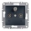 Розетка TV-R-SAT проходная 8dB Антрацит Schneider Asfora plus (EPH3500371)