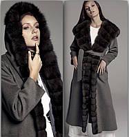 Пальто с  соболем из итальянскогокашемира Лорро Пиано, фото 1