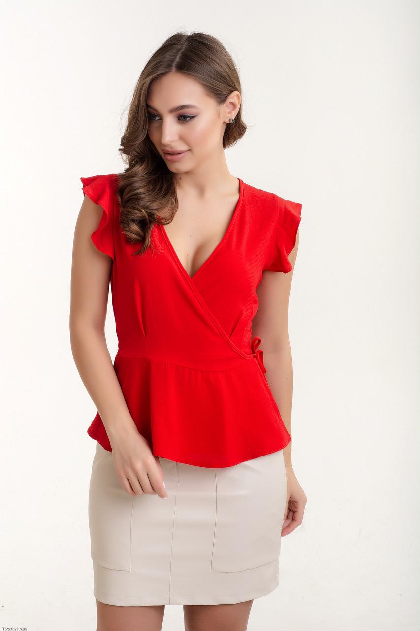 Женская стильная блуза с запахом, фото 1