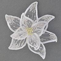Цветок пуансеттии Роскошь полупрозрачный белый, 23*23см