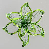 Цветок пуансеттии Роскошь полупрозрачный зеленый, 23*23см