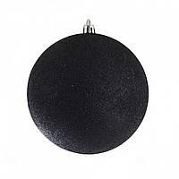 Шар d - 10 см, черный глиттер